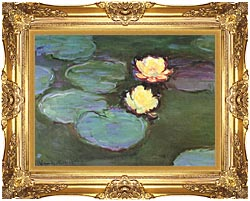 Claude Monet Green Water Lilies canvas with Majestic Gold frame