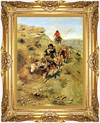 Charles Russell Bringing Home The Meat canvas with Majestic Gold frame