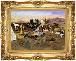 Charles Russell Bronc In Cow Camp canvas with Majestic Gold frame