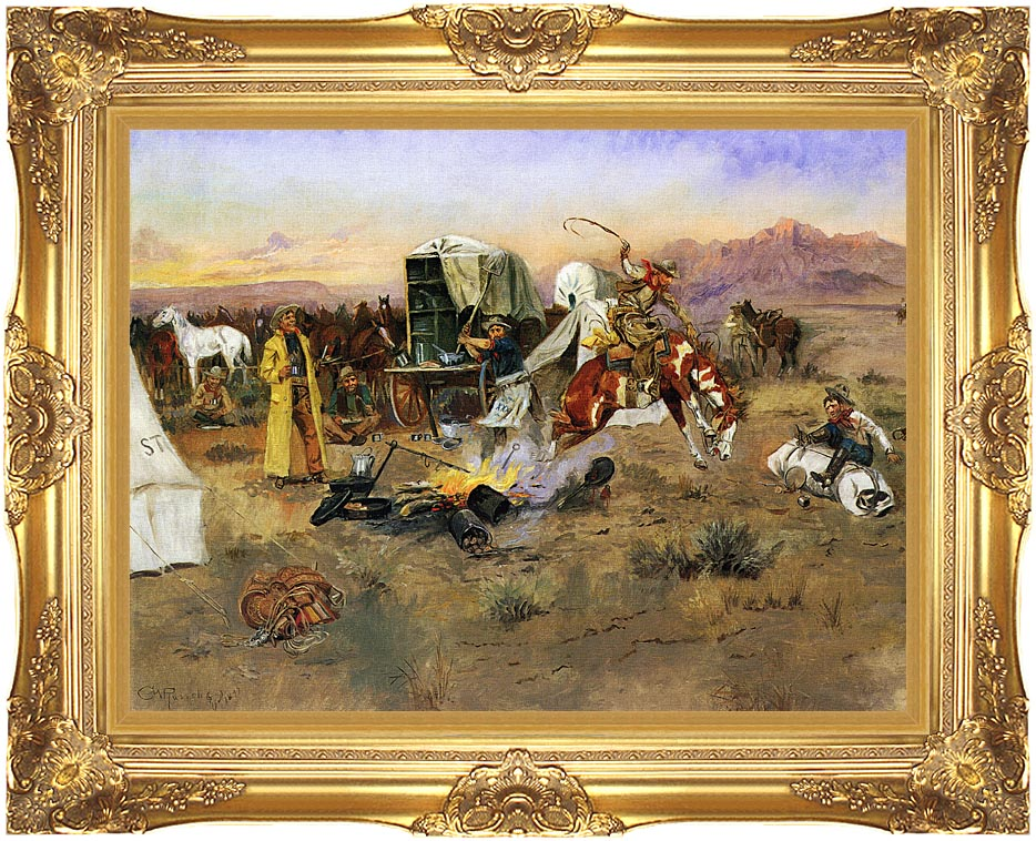 Charles Russell Bronc in Cow Camp with Majestic Gold Frame