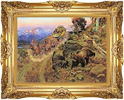 Charles Russell Bruin Not Bunny Turned The Leaders canvas with Majestic Gold frame