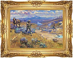 Charles Russell Buffalo Bills Duel With Yellowhand canvas with Majestic Gold frame