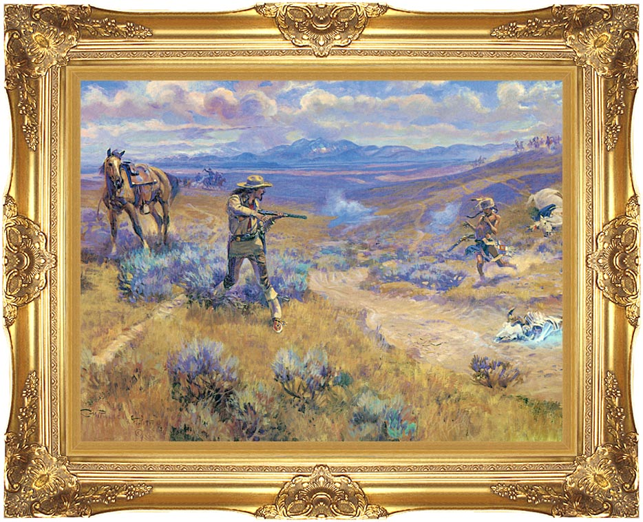 Charles Russell Buffalo Bill's Duel with Yellowhand with Majestic Gold Frame