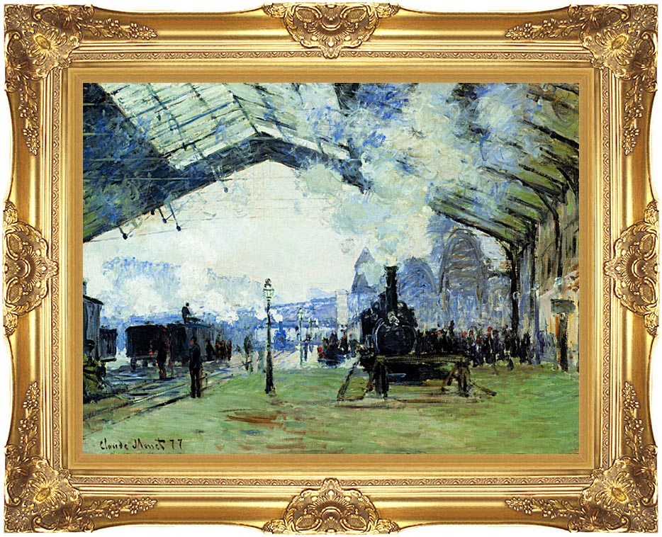 Claude Monet Arrival of the Normandy Train with Majestic Gold Frame
