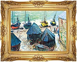Claude Monet Boats In Winter Quarters canvas with Majestic Gold frame