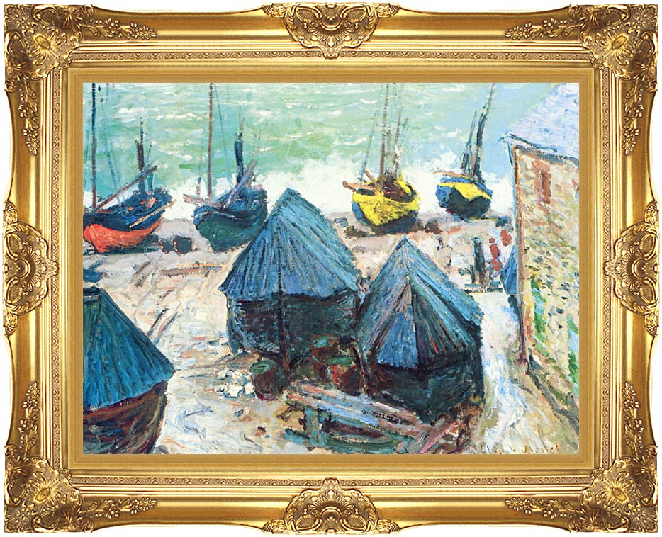 Claude Monet Boats in Winter Quarters with Majestic Gold Frame