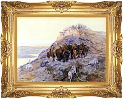 Charles Russell Buffalo Herd At Bay canvas with Majestic Gold frame