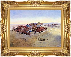 Charles Russell Caught In The Circle canvas with Majestic Gold frame