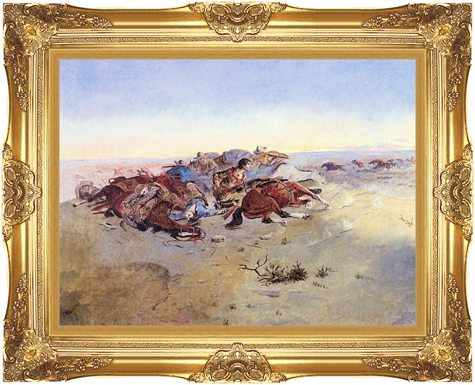 Charles Russell Caught in the Circle with Majestic Gold Frame