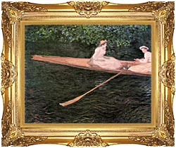 Claude Monet In A Canoe On The Epte River canvas with Majestic Gold frame