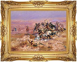 Charles Russell Counting Coup canvas with Majestic Gold frame