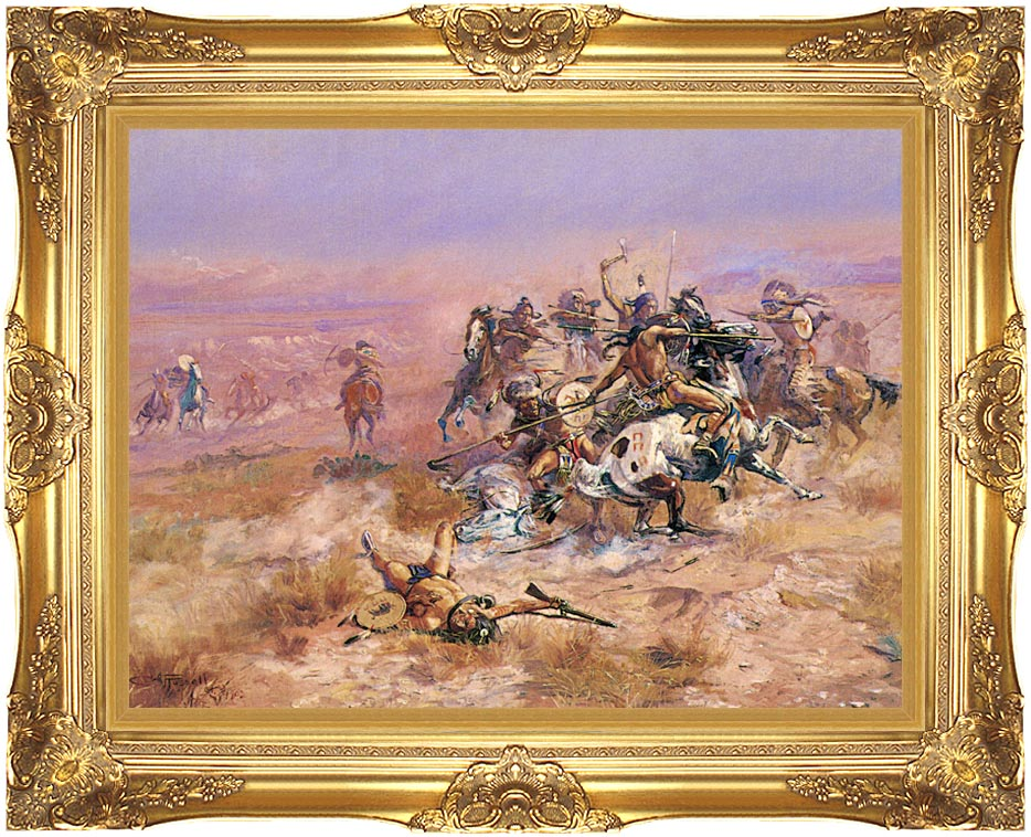 Charles Russell Counting Coup with Majestic Gold Frame