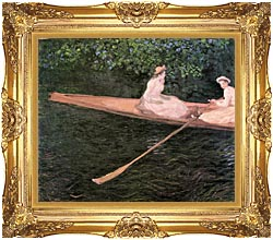 Claude Monet A Canoe On The Epte River canvas with Majestic Gold frame