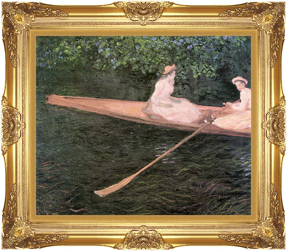 Claude Monet A Canoe on the Epte River with Majestic Gold Frame