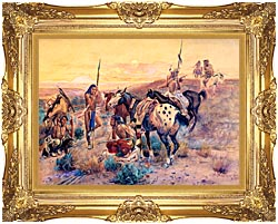 Charles Russell First Wagon Tracks canvas with Majestic Gold frame