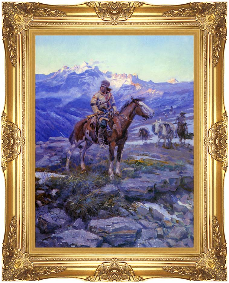 Charles Russell Free Trappers with Majestic Gold Frame