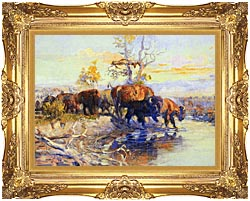 Charles Russell His Heart Sleeps canvas with Majestic Gold frame