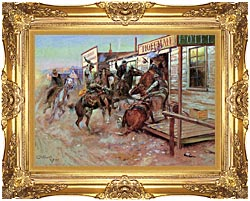 Charles Russell In Without Knocking canvas with Majestic Gold frame