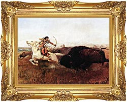 Charles Russell Indians Hunting Buffalo canvas with Majestic Gold frame