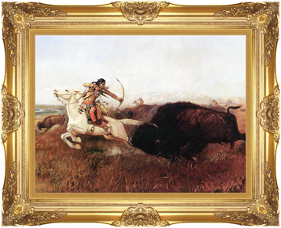 Charles Russell Indians Hunting Buffalo with Majestic Gold Frame