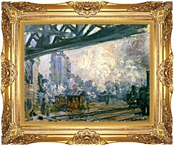 Claude Monet Outside View Of The Normandy Line canvas with Majestic Gold frame