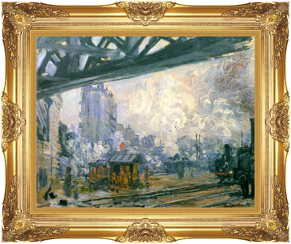 Claude Monet Outside View of the Normandy Line with Majestic Gold Frame