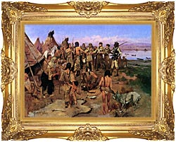 Charles Russell Lewis And Clark Expedition Meeting With Indians canvas with Majestic Gold frame
