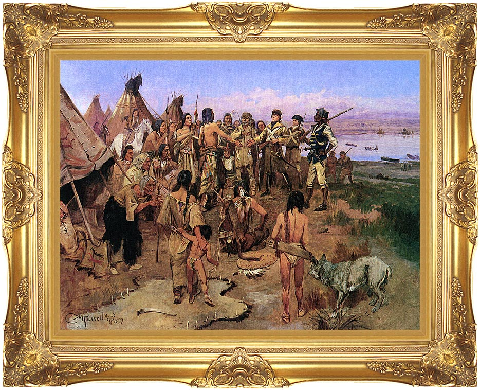 Charles Russell Lewis and Clark Expedition Meeting with Indians with Majestic Gold Frame