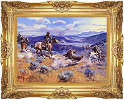 Charles Russell Loops And Swift Horses Are Surer Than Lead canvas with Majestic Gold frame