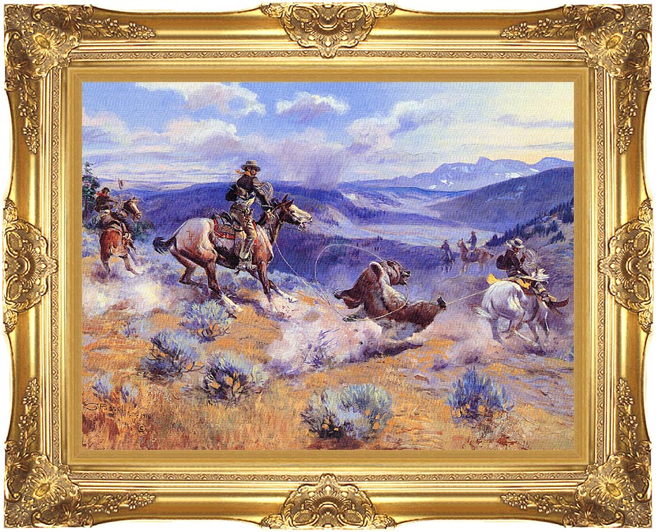 Charles Russell Loops and Swift Horses are Surer than Lead with Majestic Gold Frame