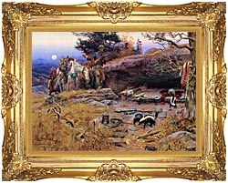 Charles Russell Mans Weapons Are Useless When Nature Goes Armed canvas with Majestic Gold frame