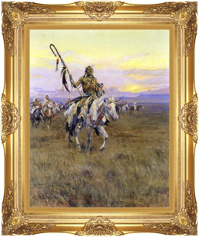 Charles Russell Medicine Man with Majestic Gold Frame