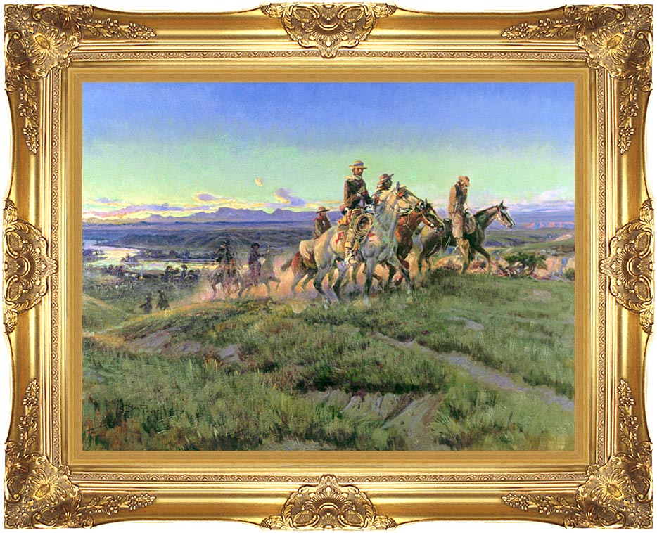 Charles Russell Men of the Open Range with Majestic Gold Frame