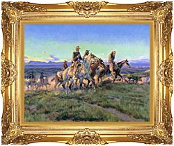 Charles Russell Men Of The Open Range Detail canvas with Majestic Gold frame