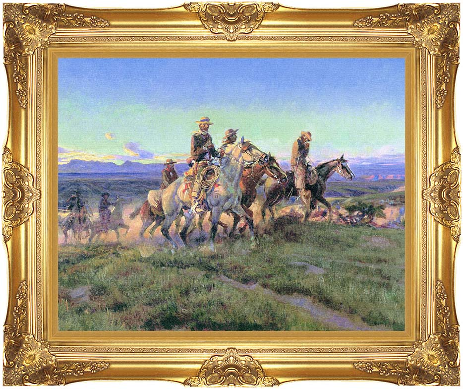 Charles Russell Men of the Open Range (detail) with Majestic Gold Frame
