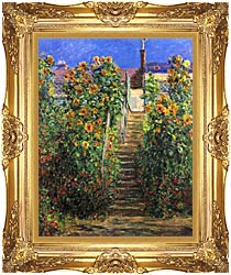 Claude Monet Steps At Vetheuil canvas with Majestic Gold frame