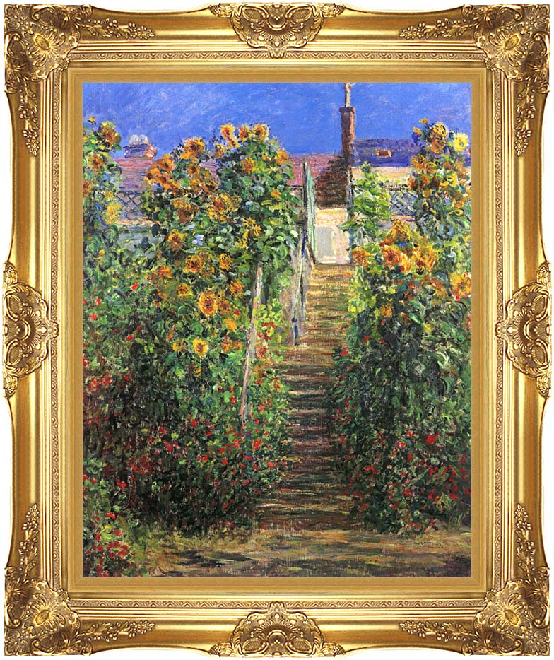 Claude Monet Steps at Vetheuil with Majestic Gold Frame