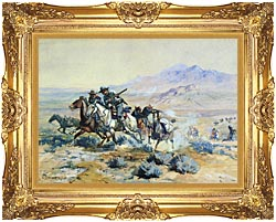 Charles Russell On The Attack canvas with Majestic Gold frame