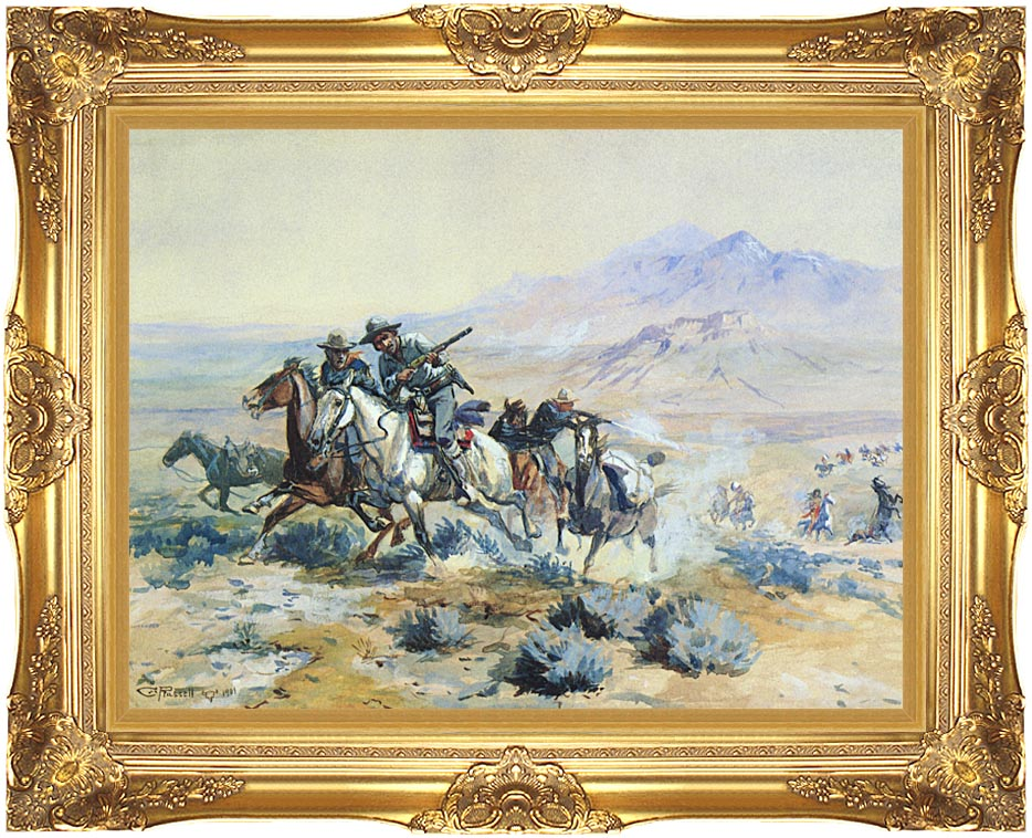 Charles Russell On the Attack with Majestic Gold Frame