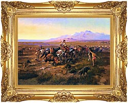 Charles Russell Returning To Camp canvas with Majestic Gold frame