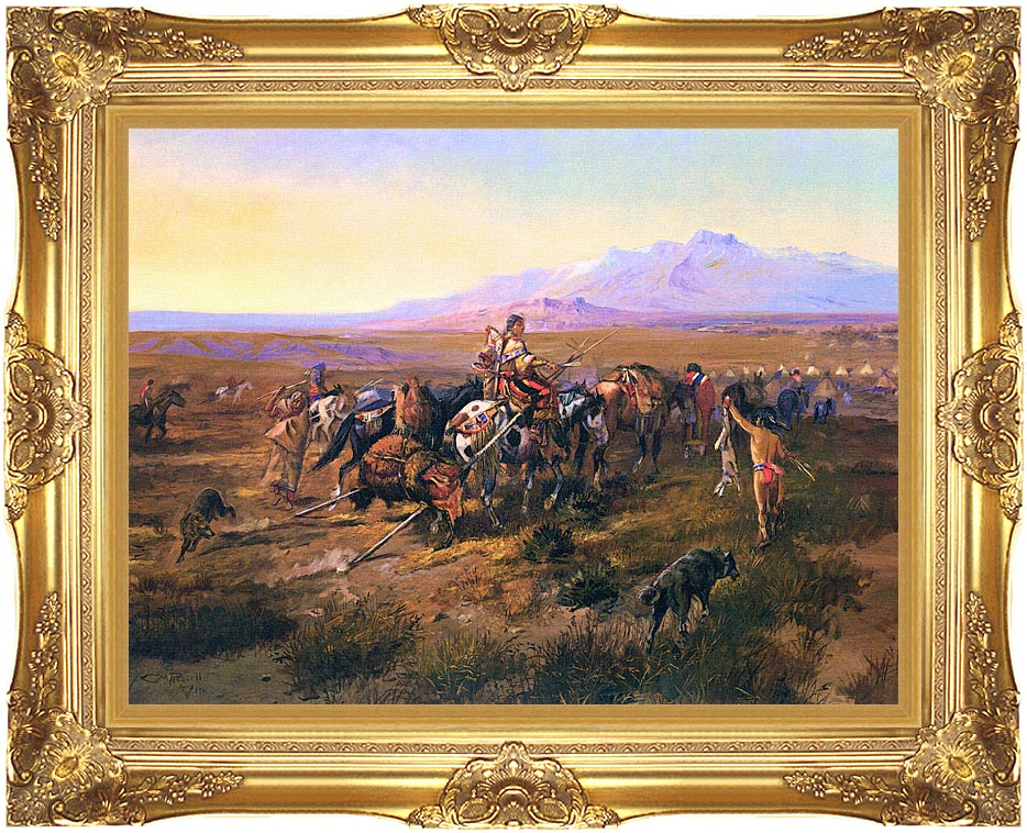 Charles Russell Returning to Camp with Majestic Gold Frame