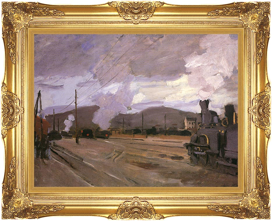 Claude Monet The Gare d'Argenteuil with Majestic Gold Frame