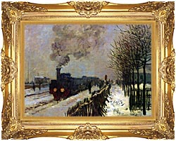 Claude Monet The Locomotive In Snow canvas with Majestic Gold frame