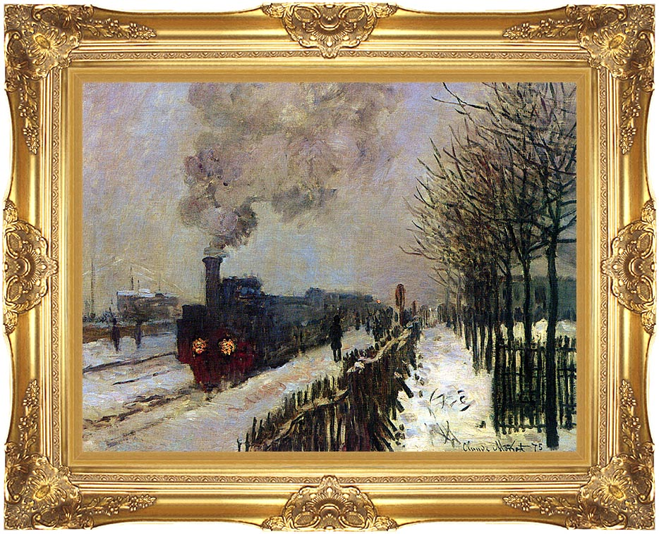 Claude Monet The Locomotive in Snow with Majestic Gold Frame