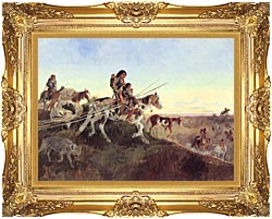 Charles Russell Seeking New Hunting Grounds canvas with Majestic Gold frame