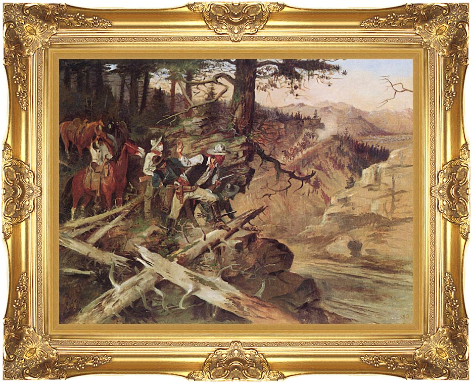 Charles Russell The Ambush with Majestic Gold Frame