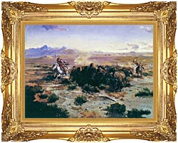 Charles Russell The Buffalo Hunt canvas with Majestic Gold frame