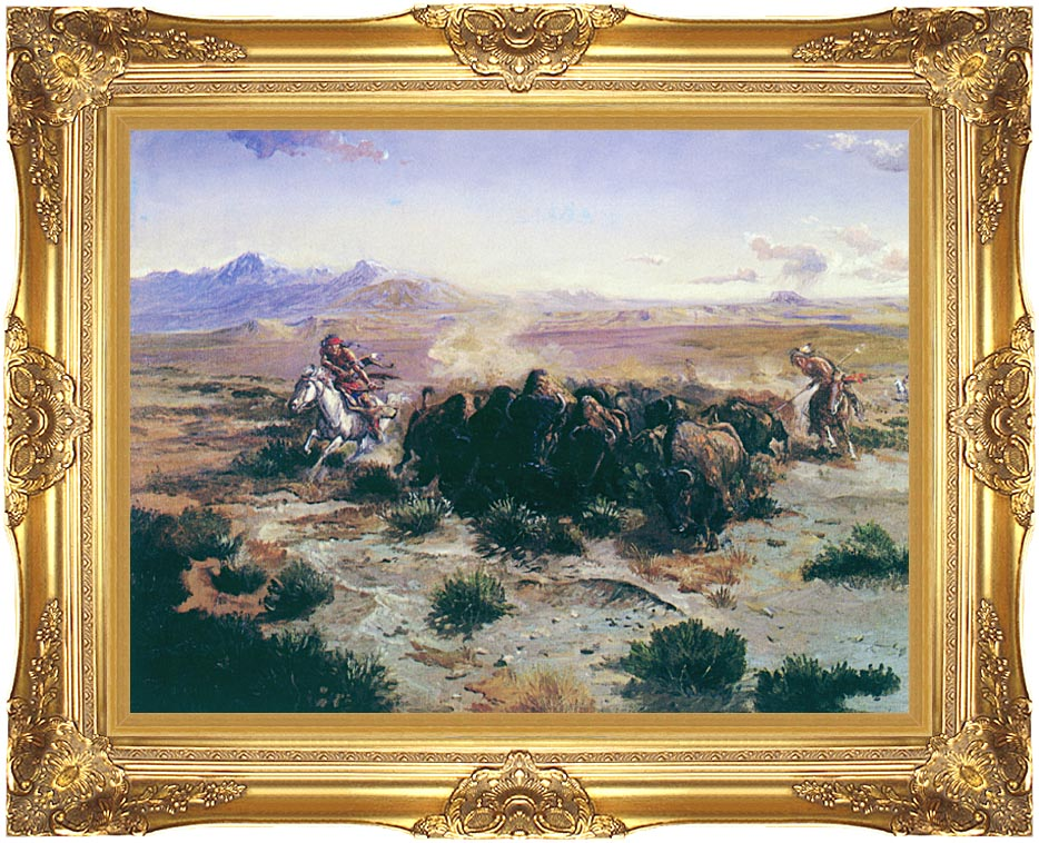 Charles Russell The Buffalo Hunt with Majestic Gold Frame