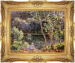 Claude Monet Studio Boat On The Seine River canvas with Majestic Gold frame
