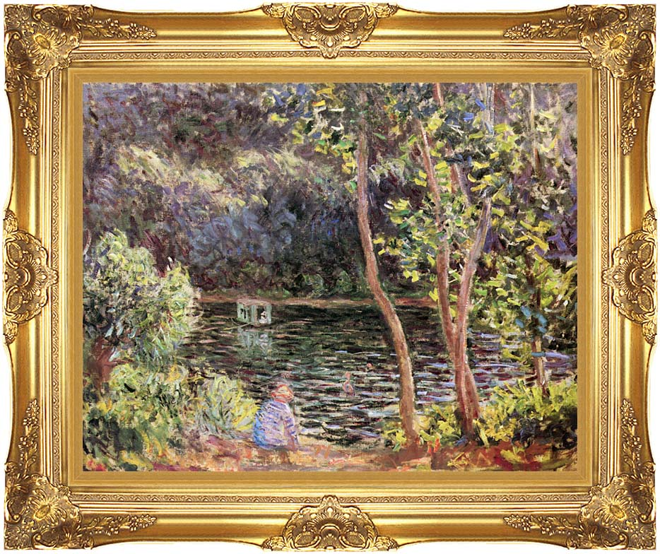 Claude Monet Studio Boat on the Seine River with Majestic Gold Frame